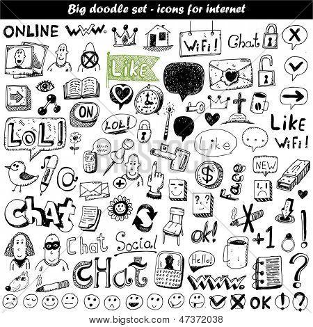 Doodle grande set - iconos web
