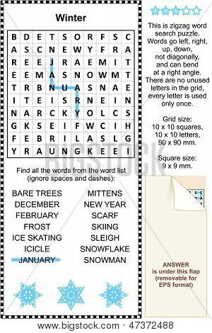 Winter themed wordsearch puzzle