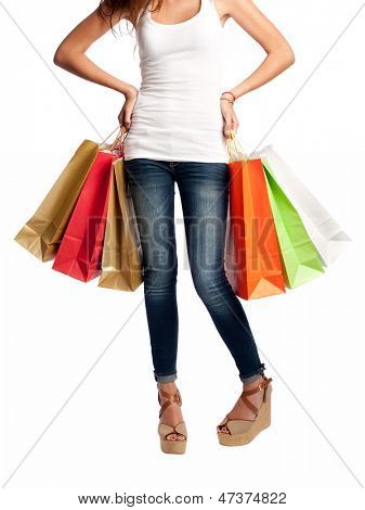 young woman holding shopping bags isolated on white background isolated on white background