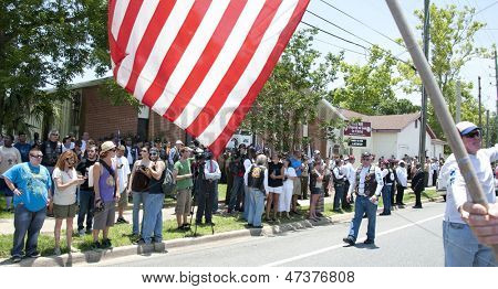 PENSACOLA, FL - JUNE 22: Patriot Riders and more gather at church of fallen Army SSGT Jesse Thomas in Pensacola, FL on June 22, 2013 to counter possible demonstration by Westboro Baptist Church.