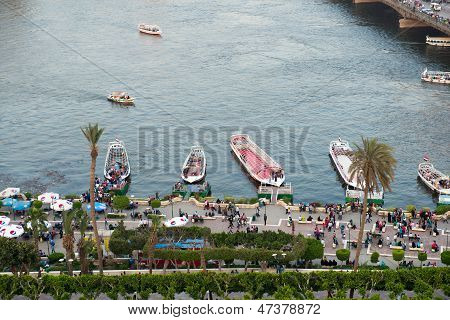 Sunset view of Nile embankment in Cairo