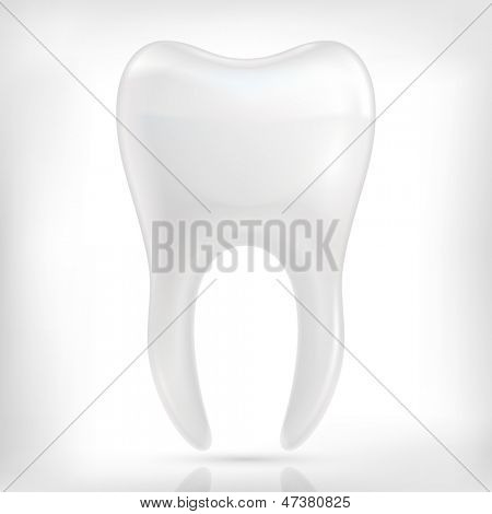 Healthy white tooth icon isolated on white background.