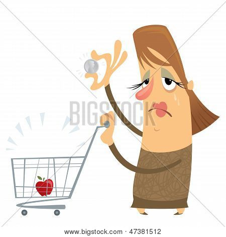 Sad Poor Woman Without Money With An Empty Cart Holding Only One Coin