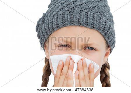 Sick little girl on white background