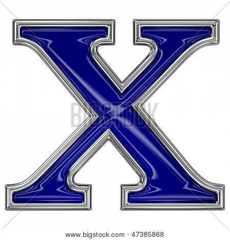 Metal silver and blue alphabet letter symbol - X