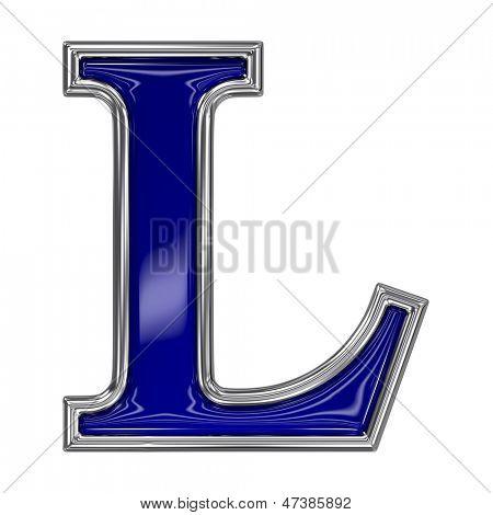 Metal silver and blue alphabet letter symbol - L