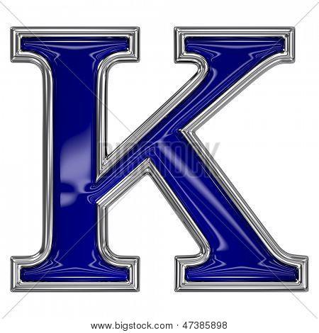 Metal silver and blue alphabet letter symbol - K