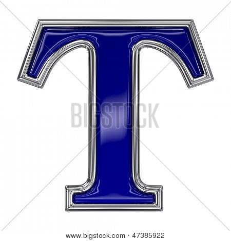Metal silver and blue alphabet letter symbol - T