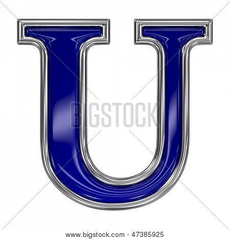 Metall Silber und blau Alphabet-Buchstaben-Symbol - U