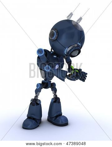 3D Render of an Android nurturing  a plant