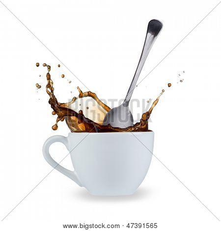 coffee splash isolated on white background
