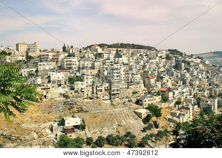 View of small palestinian neighborhood on the slopes of Mount of Olives in east Jerusalem, Israel.
