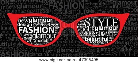 Fashion concept. Sunglasses with elements of typography