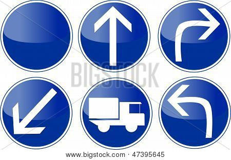 set of blue traffic sign