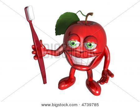 Apple saudável com dentes limpos