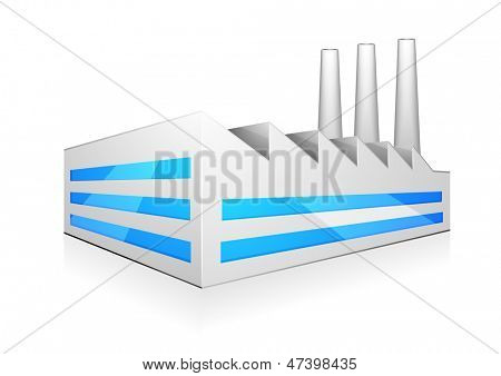 detailed illustration of modern factory building with three chimneys, eps 10 vector