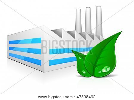 detailed illustration of modern factory building with three chimneys and green leafs in front, symbol for environmental friendly production, eps 10 vector