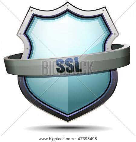 detailed illustration of a coat of arms with SSL writing, symbol for internet security, eps 10 vector