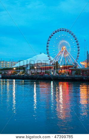 Navy Pier In Chicago At Night Time