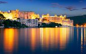 City Palace And Pichola Lake At Night, Udaipur, Rajasthan, India.