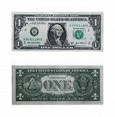 picture of twenty dollar bill  - both sides of the one dollar bill isolated on white with cllipping path - JPG