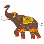 stock photo of tusks  - vector illustration of decorated elephant - JPG