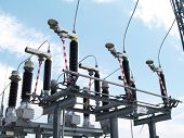 stock photo of utility pole  - High voltage electrical substation in wind power plant - JPG