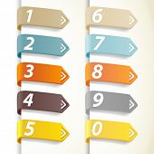 pic of numbers counting  - Set of colorful numbers with arrows - JPG