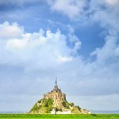 Mont Saint Michel Monastery Landmark And Green Field. Normandy, France poster