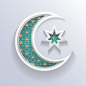 stock photo of masjid  - crescent moon holiday symbol - JPG