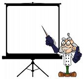 stock photo of mad scientist  - Illustration of a funny scientist at projector screen - JPG