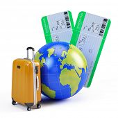 Globe, suitcase and airline tickets - travel icon