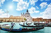picture of gondola  - gondolas on Canal and Basilica Santa Maria della Salute - JPG