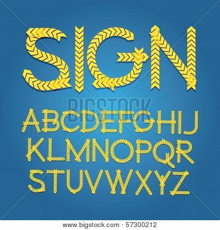 W1-8 Chevron Sign Alphabet Vector