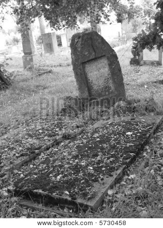 Cemetery scene With grave stones black & white image