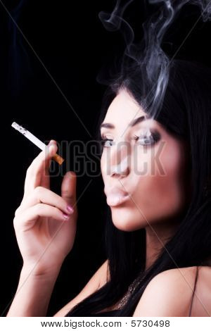 Portrait Of Elegant Smoking Woman