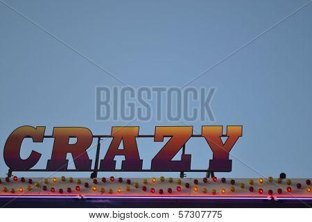 Fairground ride crazy sign