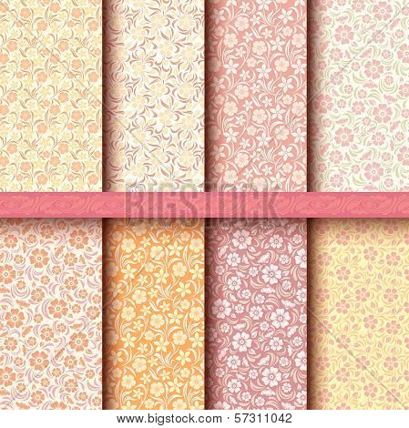 Set of vintage floral patterns.