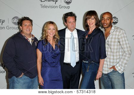 Nate Torrence, Andrea Anders, Matthew Perry, Allison Janney and James Lesure at the Disney ABC Television Group Summer 2010 Press Tour, Beverly Hilton Hotel, Beverly Hills, CA. 08-01-10