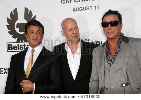 Sylvester Stallone and Bruce Willis and Mickey Rourke at the