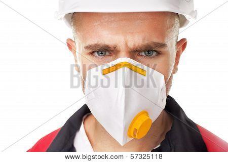 Serious Worker Wearing Respirator