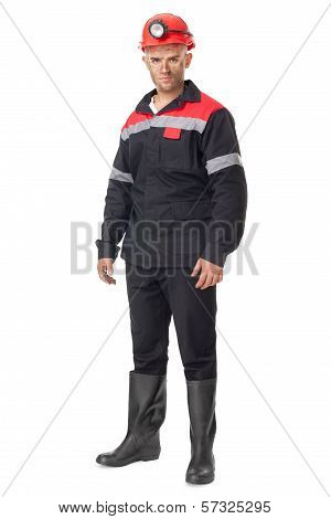 Full Length Portrait Of Young Coal Miner