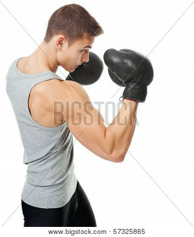 Side View Portrait Of Muscular Young Boxer Man