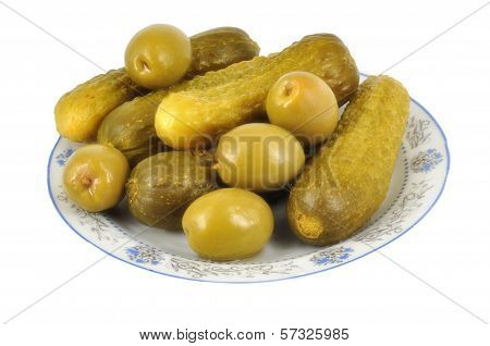 Cucumbers with olives  isolated on white background