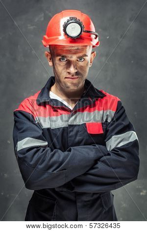 Portrait Of Serious Coal Miner