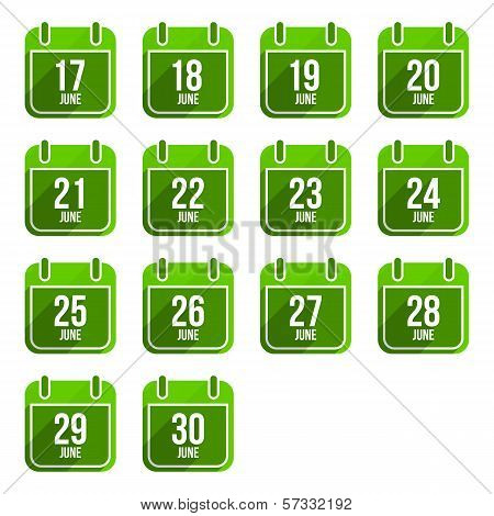 June vector flat calendar icons. Days Of Year Set 18