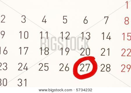 Date Circled On A Calendar.