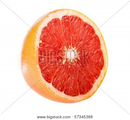 Half A Grapefruit On White Background