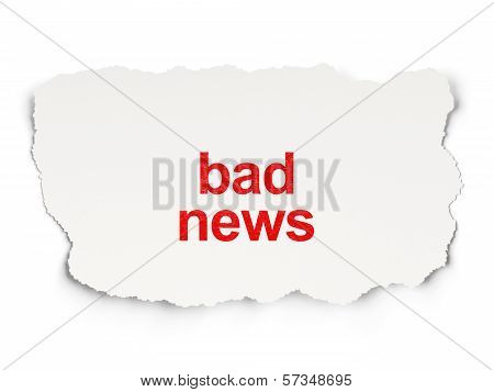 News concept: Bad News on Paper background
