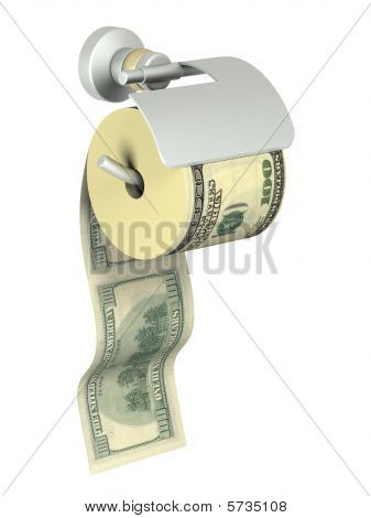 The Roll Of Dollars Anchored In Holder For Tissue